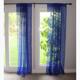 Floral Lace Window Curtain 58 Inch Wide Blue
