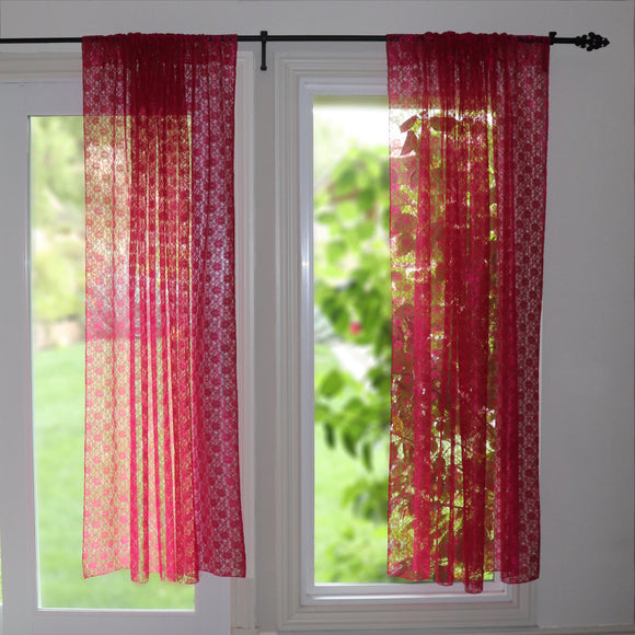 Floral Lace Window Curtain 58 Inch Wide Fuchsia
