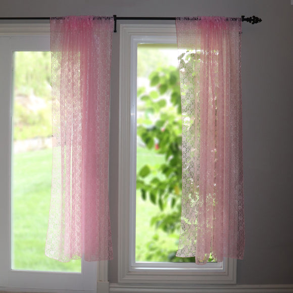 Floral Lace Window Curtain 58 Inch Wide Pink