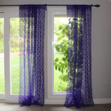 Floral Lace Window Curtain 58 Inch Wide Purple