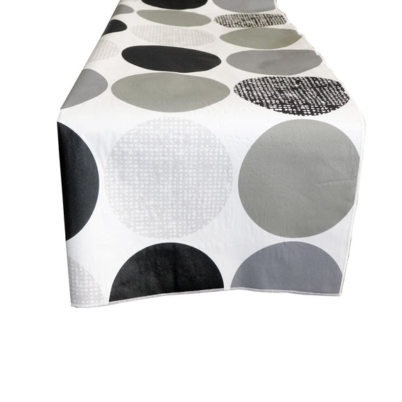 Plastic Table Runner Non-Slip Flannel Backing - Large Circles Gray