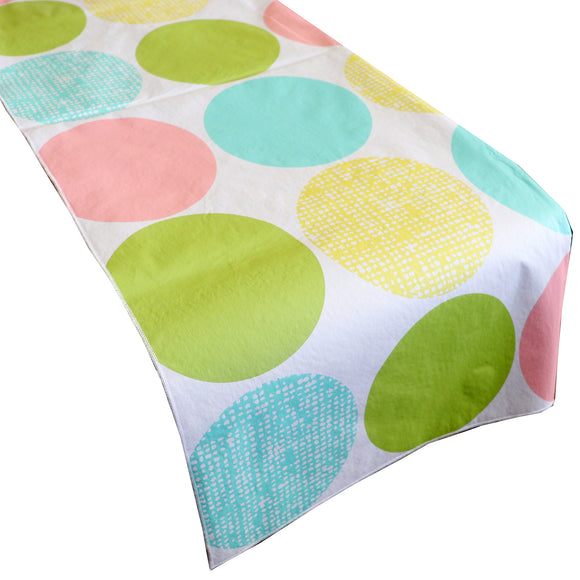 Plastic Table Runner Non-Slip Flannel Backing - Large Circles Pastel