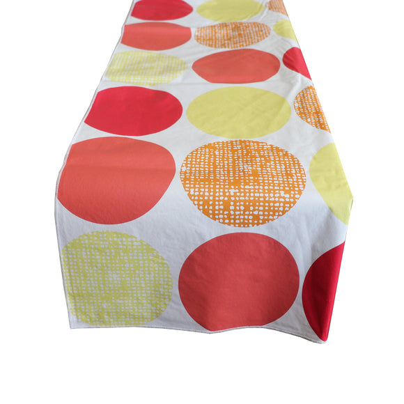 Plastic Table Runner Non-Slip Flannel Backing - Large Circles Warm