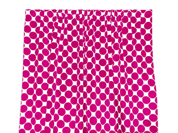 Cotton Polka Dots Window Curtain 58 Inch Wide Large Dots Fuchsia on White