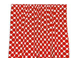 Cotton Polka Dots Window Curtain 58 Inch Wide Large Dots Red on White