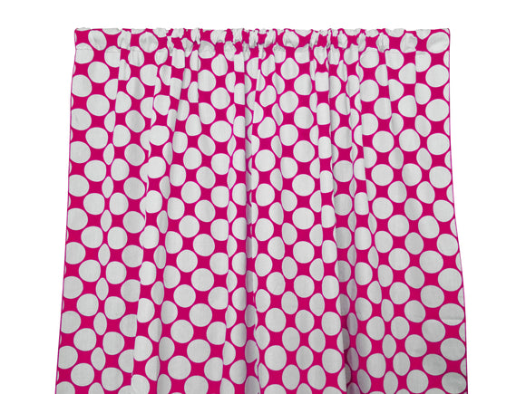 Cotton Polka Dots Window Curtain 58 Inch Wide Large Dots White on Fuchsia