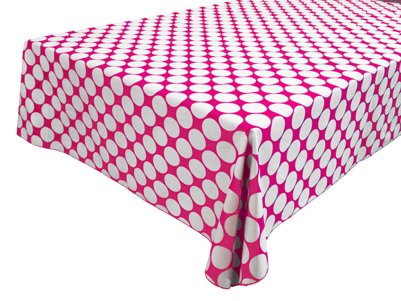 Cotton Polka Dots Tablecloth Large White Dots on Fuchsia