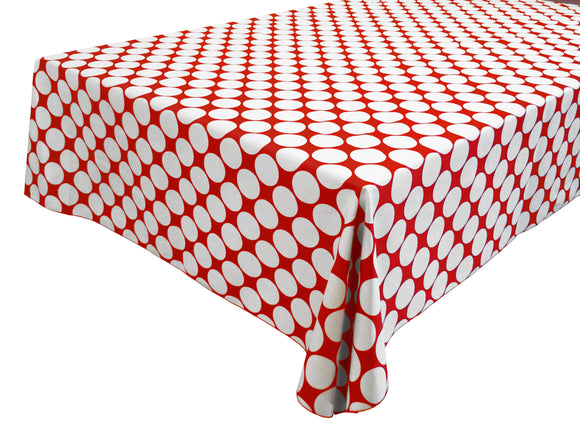 Cotton Polka Dots Tablecloth Large White Dots on Red