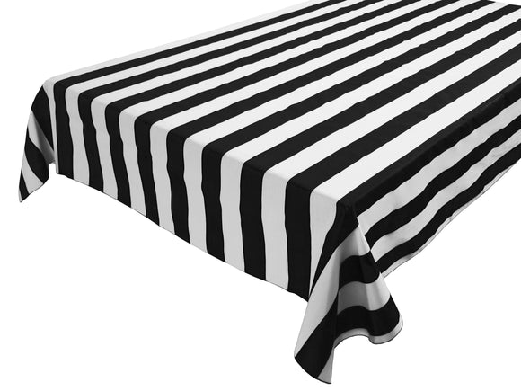 Cotton Stripe Tablecloth 2 Inch Black and White