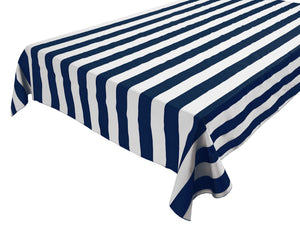 Cotton Stripe Tablecloth 2 Inch Navy
