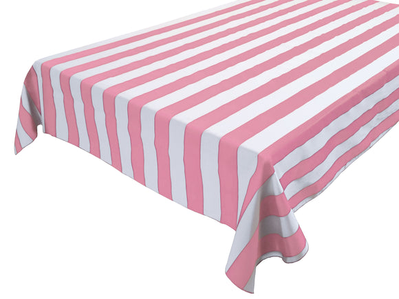 Cotton Stripe Tablecloth 2 Inch Pink