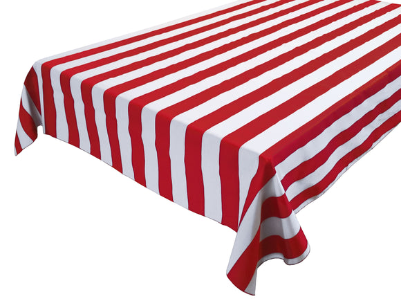Cotton Stripe Tablecloth 2 Inch Red