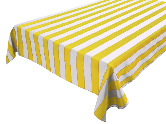 Cotton Stripe Tablecloth 2 Inch Yellow