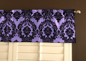 "Flocked Damask Window Valance 58"" Wide Lavender"