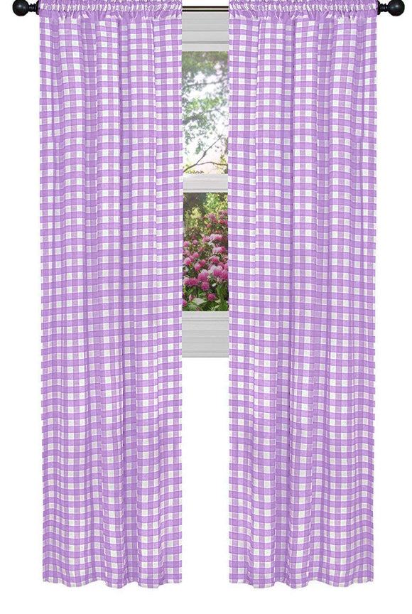 Poplin Gingham Checkered Window Curtain 56 Inch Wide Lavender