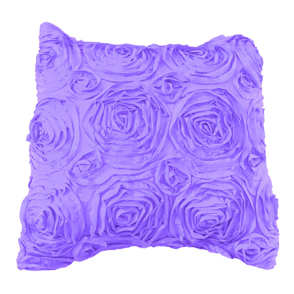 Satin Rosette Decorative Throw Pillow/Sham Cushion Cover Lavender
