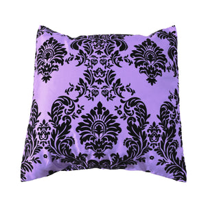 Flocked Damask Decorative Throw Pillow/Sham Cushion Cover Black on Lavender