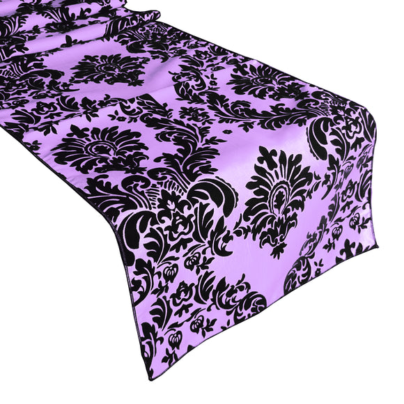 Flocked Damask Table Runner Lavender
