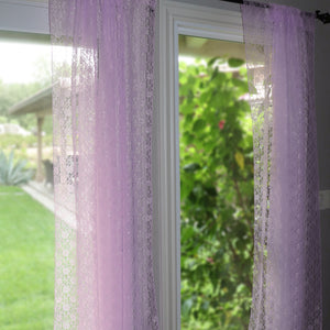 Floral Lace Window Curtain 58 Inch Wide Lavender
