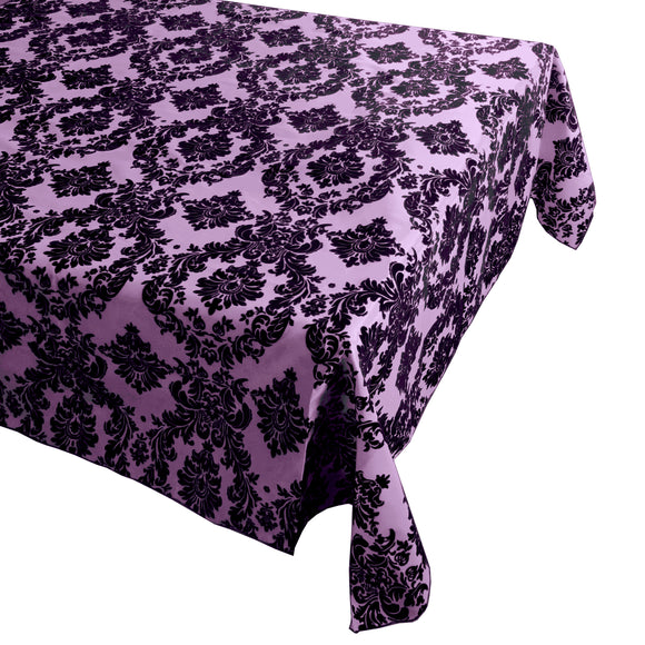 Flocking Damask Taffeta Tablecloth Lavender