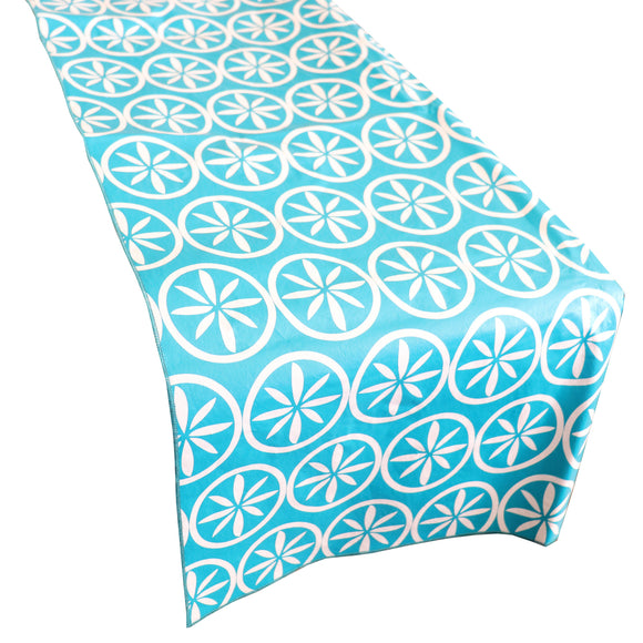 Plastic Table Runner Non-Slip Flannel Backing - Floral Leaf Medallion