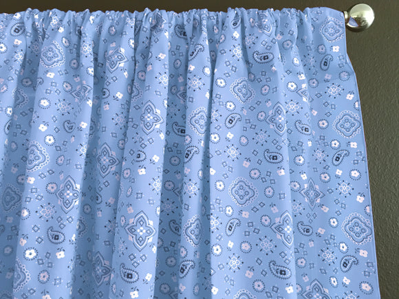 Cotton Bandanna Window Curtain 58 Inch Wide Light Blue