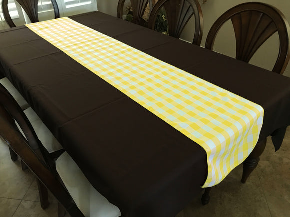 Poplin Table Runner Gingham Checkered Light Yellow