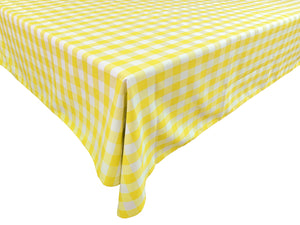 Poplin Gingham Checkered Plaid Tablecloth Light Yellow
