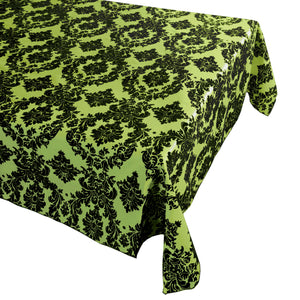 Flocking Damask Taffeta Tablecloth Lime Green