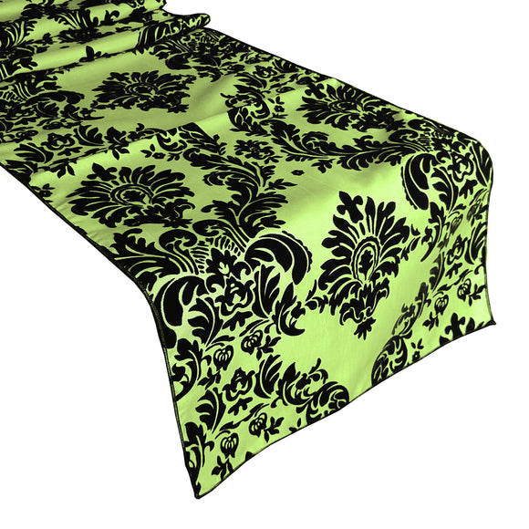 Flocked Damask Table Runner Lime Green