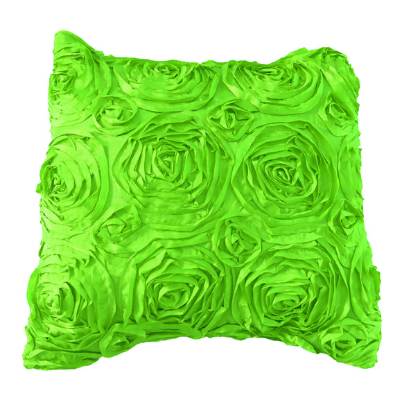 Satin Rosette Decorative Throw Pillow/Sham Cushion Cover Lime Green