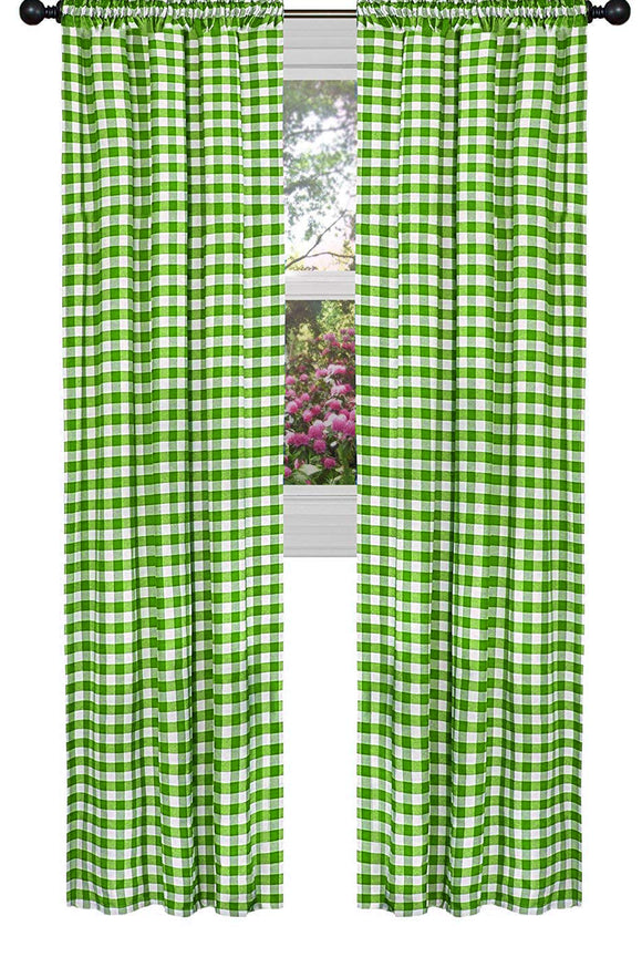 Poplin Gingham Checkered Window Curtain 56 Inch Wide Lime Green