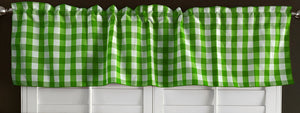 "Poplin Gingham Checkered Window Valance 58"" Wide Lime Green"