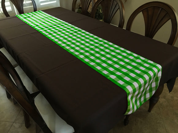 Poplin Table Runner Gingham Checkered Lime Green