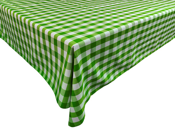 Poplin Gingham Checkered Plaid Tablecloth Lime Green