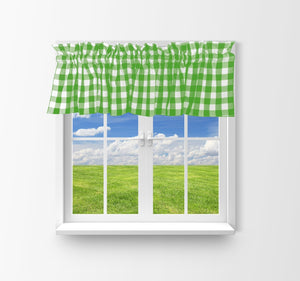 "Cotton Gingham Checkered Window Valance 58"" Wide Lime Green"