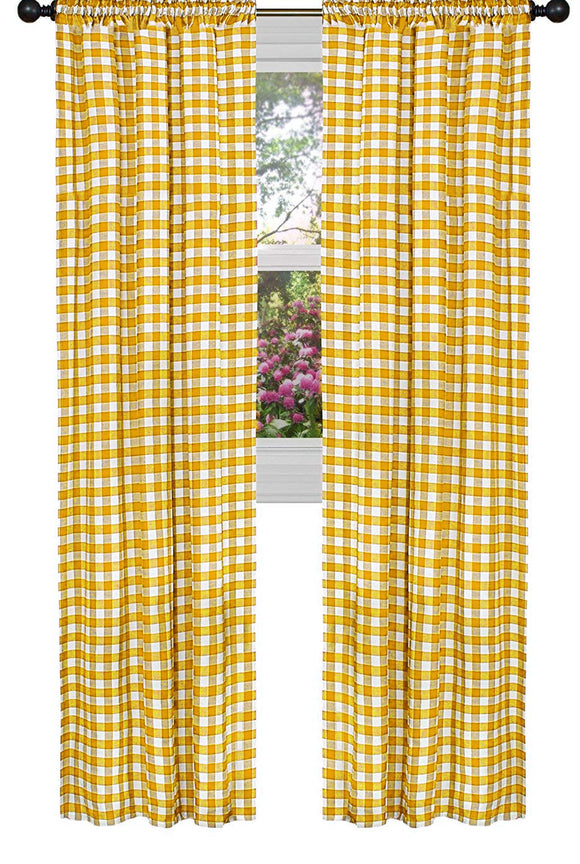 Poplin Gingham Checkered Window Curtain 56 Inch Wide Marigold Yellow