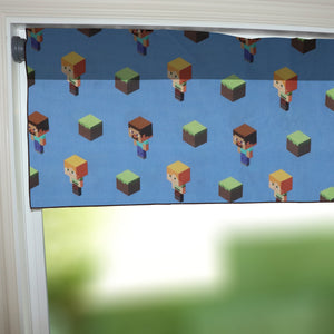 "100% Cotton Minecraft Themed Window Valance 42"" Wide Alex Steve and Dirt Blocks"