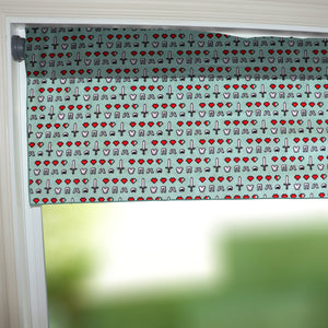"100% Cotton Minecraft Themed Window Valance 42"" Wide Health and Equipment"