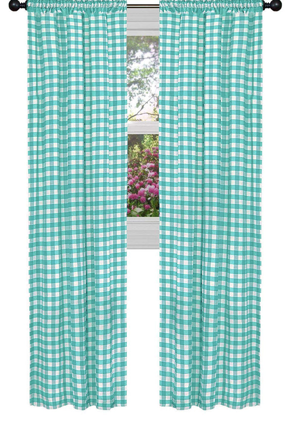Poplin Gingham Checkered Window Curtain 56 Inch Wide Aqua Mint