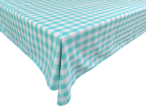 Poplin Gingham Checkered Plaid Tablecloth Mint