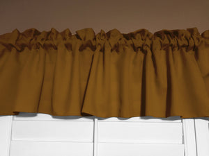 "Solid Poplin Window Valance 58"" Wide Mustard Dark Gold"