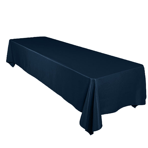 Shiny Satin Solid Tablecloth Navy