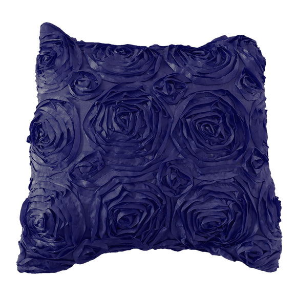 Satin Rosette Decorative Throw Pillow/Sham Cushion Cover Navy
