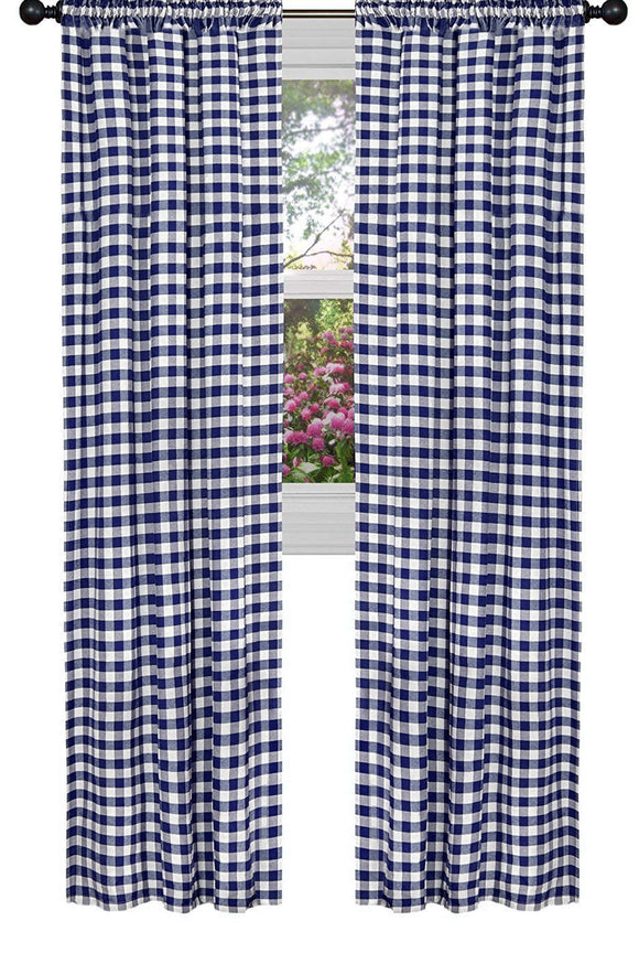 Poplin Gingham Checkered Window Curtain 56 Inch Wide Navy