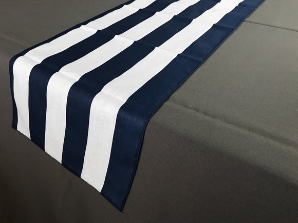 Satin Stripe Table Runner 2 Inch Wide Stripes Navy