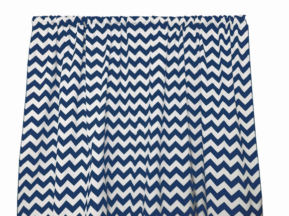 Cotton Zig-zag Chevron Window Curtain 58 Inch Wide Navy