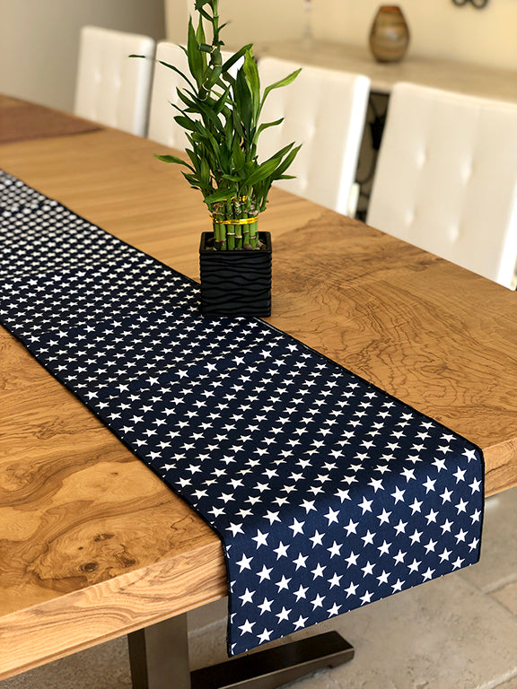 Cotton Print Table Runner Stars Navy
