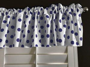 "Cotton Polka Dots Window Valance 58"" Wide Navy on White"