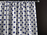 Cotton Polka Dots Window Curtain 58 Inch Wide Navy on White
